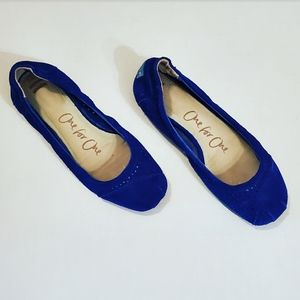Toms One For One Blue Suede Macaroon Cutout Flats